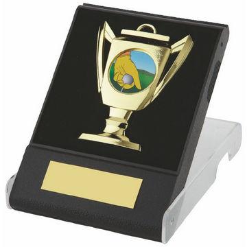 Cup Design Tennis Medal in Black Plastic Case