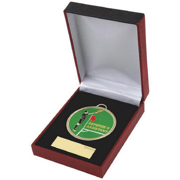 Enamel Football Referee's Assistant Medal in Case