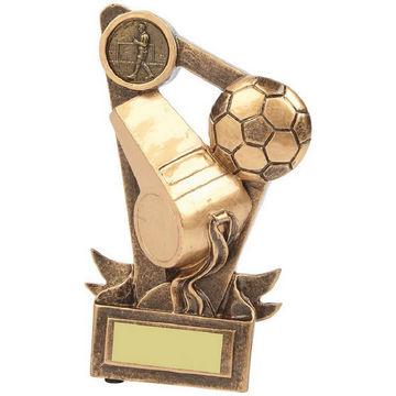 Gold Football Referee Ball and Whistle Award