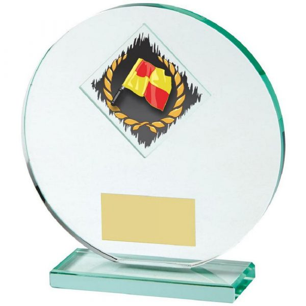 Jade Glass Football Award with Linesman's Flag