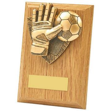 Light Oak Football Goalie Wood Plaque Award