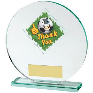 Jade Glass Circle Football Thank You Award