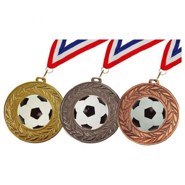90mm Football Medal in Gold, Silver or bronze