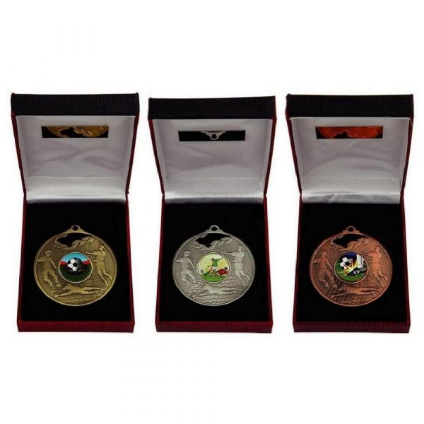 Football 70mm Medal in Case - Gold, Silver, Bronze