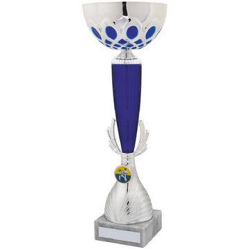 Silver/Blue Bowl Column Trophy