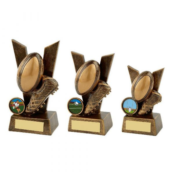 V is for Victory - Gold Rugby Boot and Ball Trophy