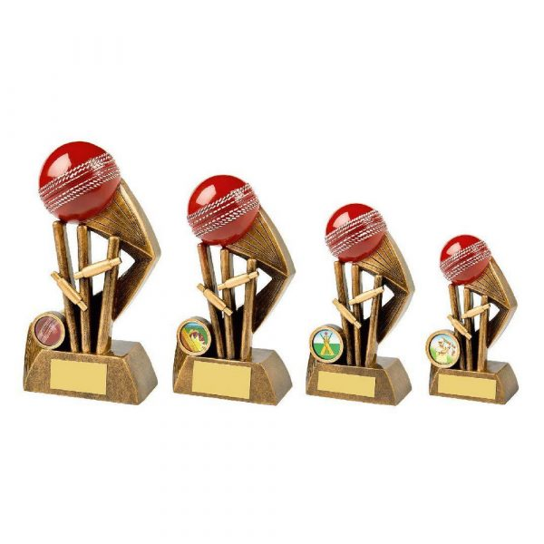 Antique Gold Cricket Award with Red Ball
