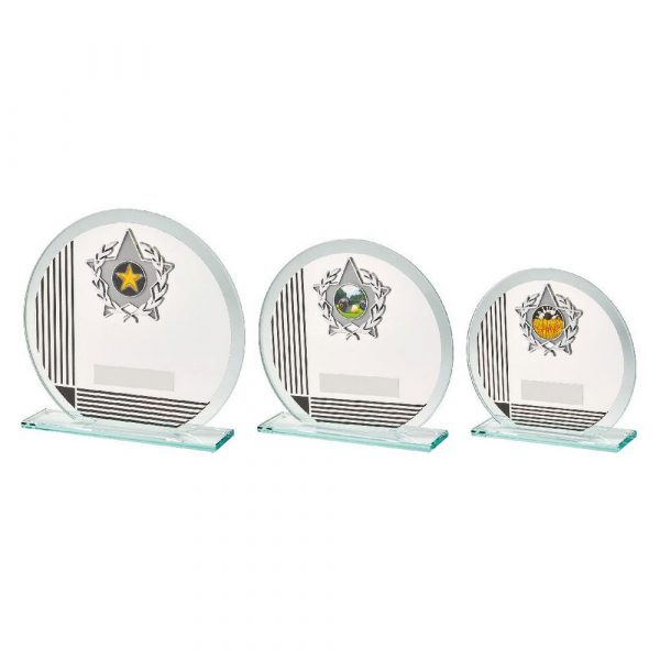 Circular Glass/Black Stripe Star Trim Award