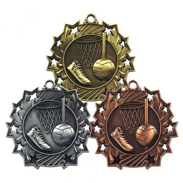 60mm Stars Netball Medal