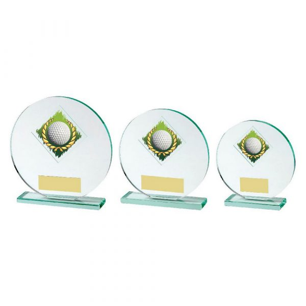 Round Jade Glass Upright Golf Award with Colour Image