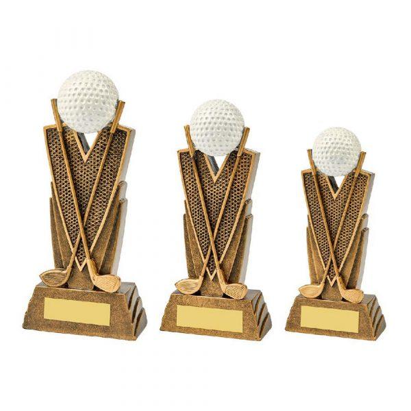 Antique Gold Golf Club/Ball Resin