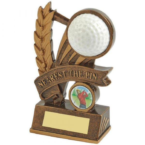 Gold Nearest the Pin Golf Award - Ball and Ribbon