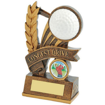 Gold Longest Drive Golf Award - Ball and Ribbon