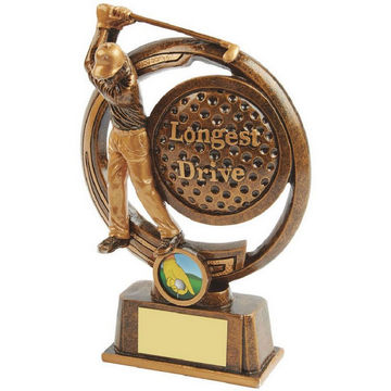 Gold Longest Drive Golf Award - Figure and Ball