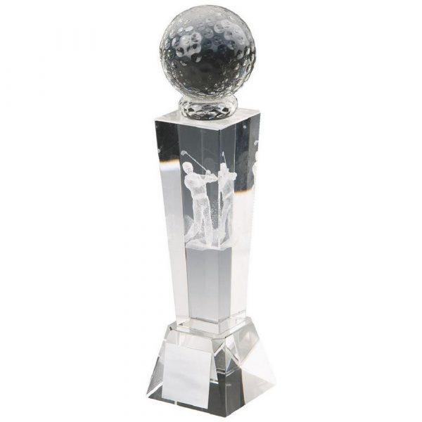Crystal Column with 3D Golfer (M)