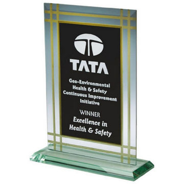 Jade Glass Rectangle Award with Black Background