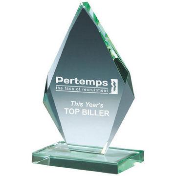 Bevelled Jade Glass Diamond Business Award