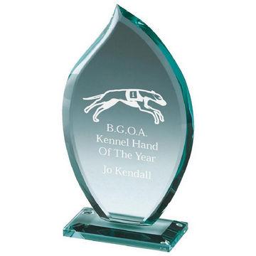 Petal-Shaped Trophy in Jade Glass