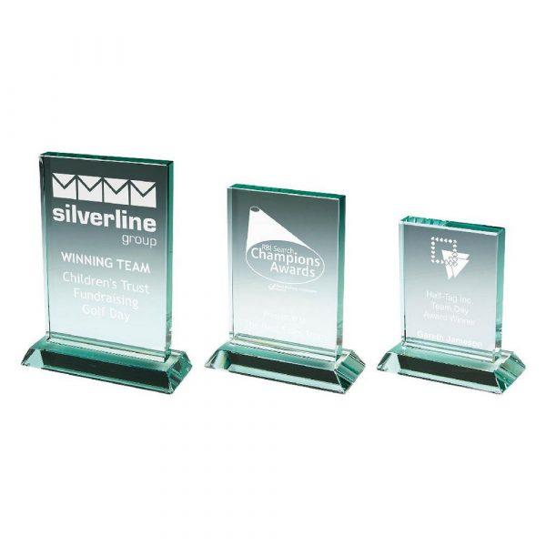 Heavy Jade Glass Rectangle Award