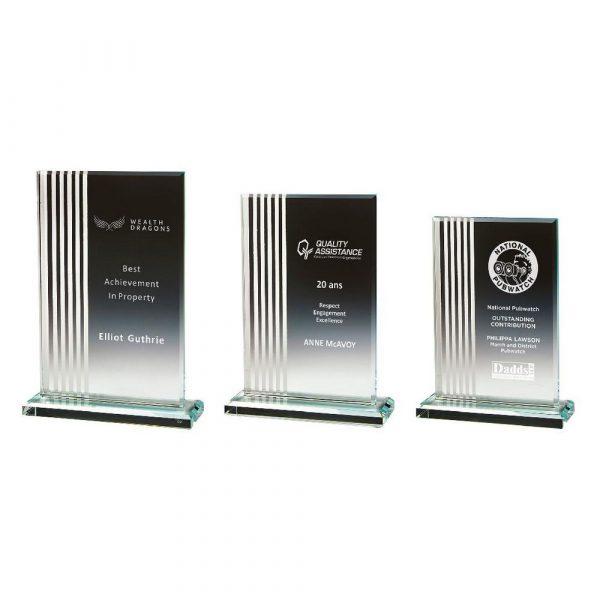 Silver Striped Glass Rectangle Award