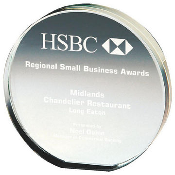 Circular Trophy in Crystal for Corporate Awards