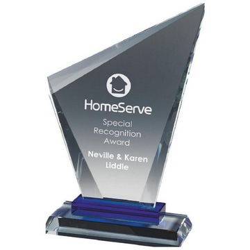 Clear Glass Stand with Blue Base