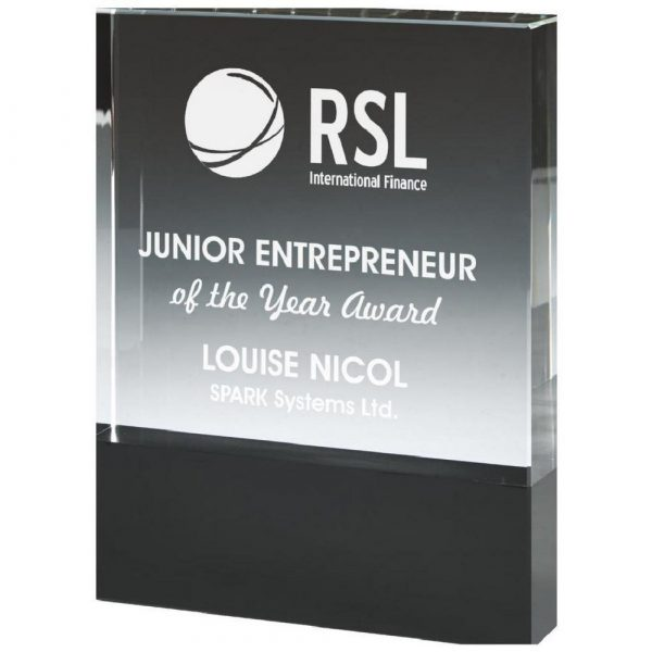 Crystal Block Award with Black Base for Colour Printing