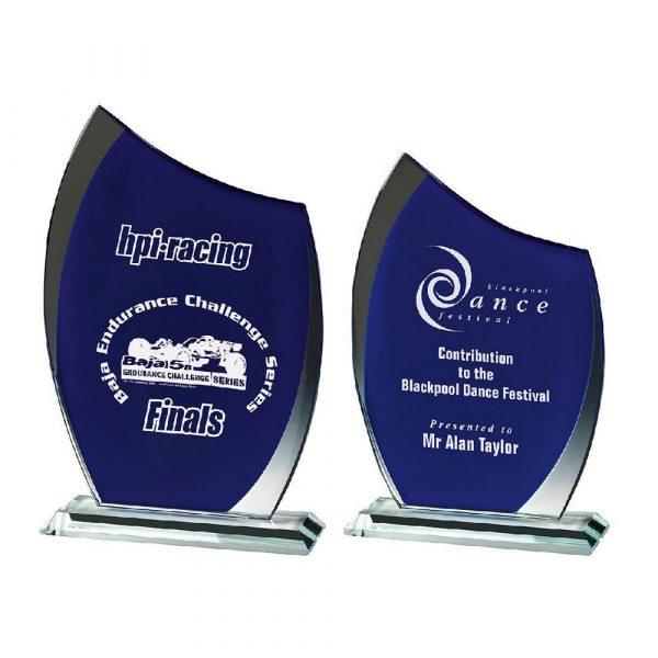 Clear/Blue Glass Curve Award