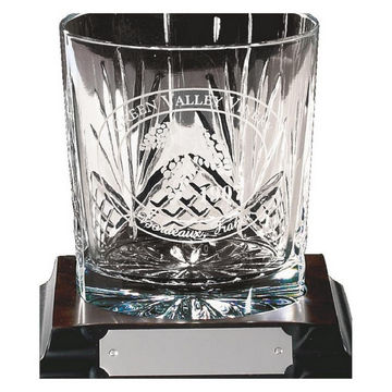 Engraved Crystal Whiskey Glass on Wood Stand