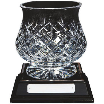 Crystal Tulip Bowl on Wood Base
