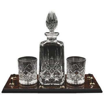 Decanter & 2 Spirit Glasses on Tray