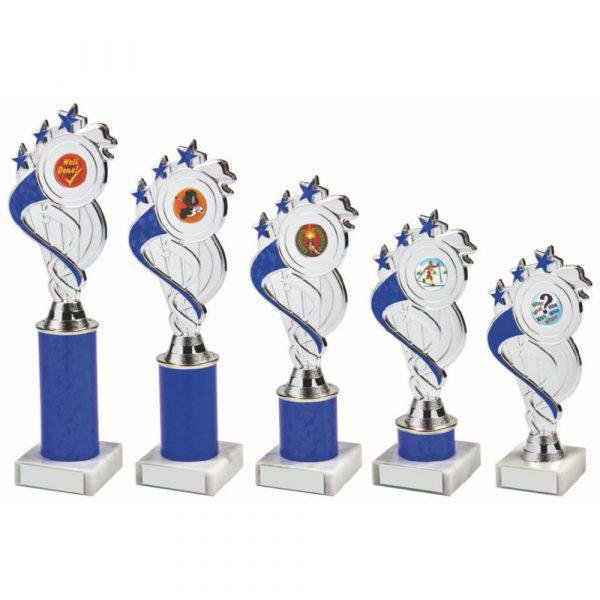 Silver/Blue Tube Trophy