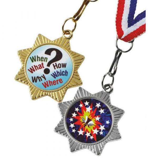 40mm Star Medal with Red/White/Blue Ribbon