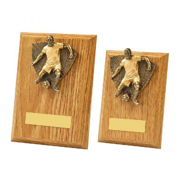 Light Oak Male Footballer Wood Plaque Trophy