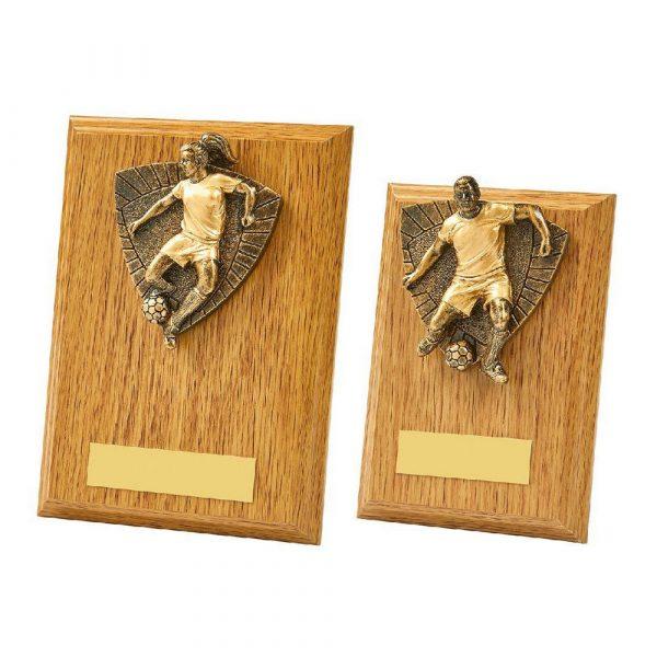 Light Oak Female Footballer Wood Plaque Trophy