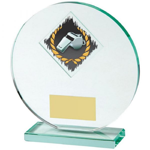 Jade Glass Football Award with Colour Referee's Whistle Image