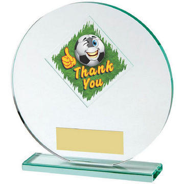 Jade Glass Circle Football Thank You Award