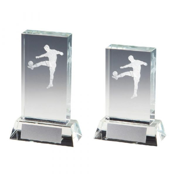 Crystal Upright Mens Football Award with 3D Image inside