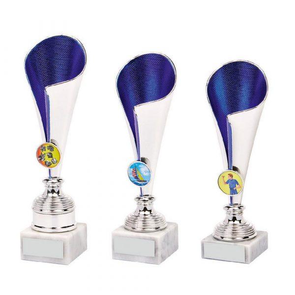 Silver/Blue Sculpture Fold Cup