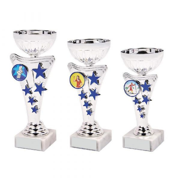 Silver/Blue Star Trophy Cup