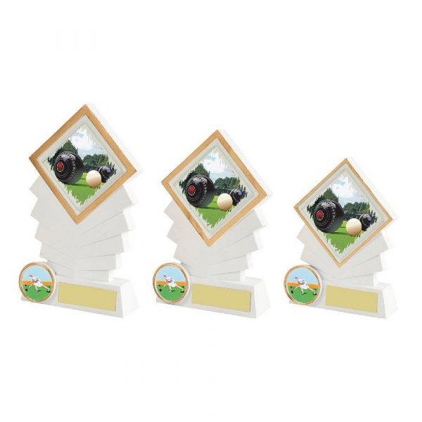 White Resin Diamond Lawn Bowls Award