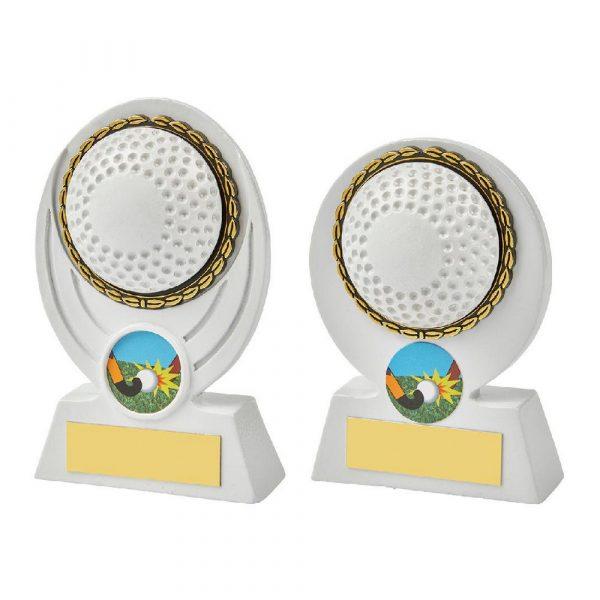 White Hockey Ball Resin Award