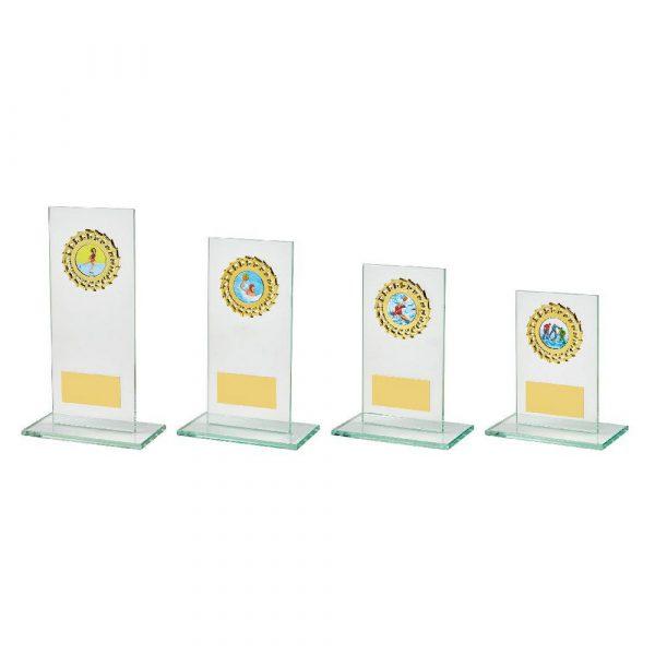 Rectangular Jade Glass Gold Trim Award