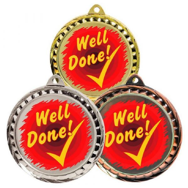 60mm Colour Print Sports Medal - Well Done