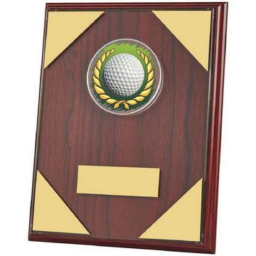 Jade Glass on Wood Plaque Golf Award