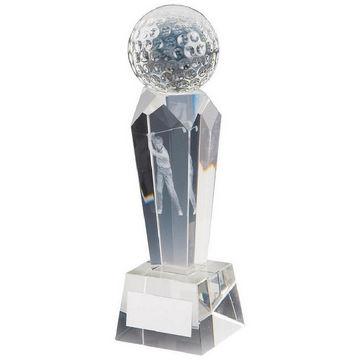 Golf Trophy in 3D Crystal Column with Golfer