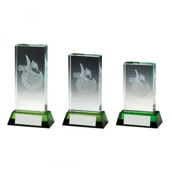 Golf Bag Jade Glass Block with Green Base