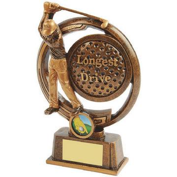 Gold Longest Drive Golf Award - Figure and Ball