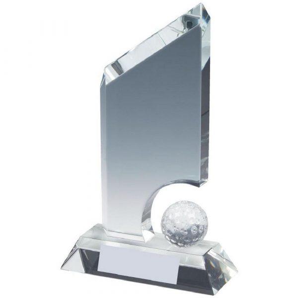 Crystal Golf Award with Golf Ball