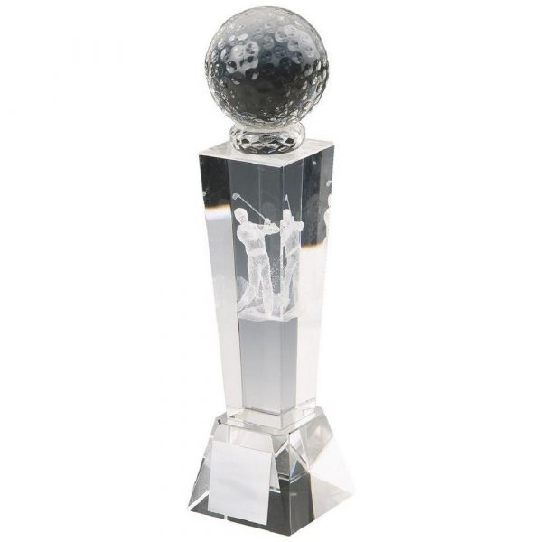 Crystal Column with 3D Golfer (M)